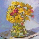 oil painting yellow daisies