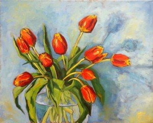"STILL LIFE OIL PAINTING ""A Perfect Day for Tulips"""