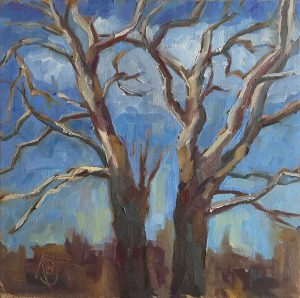 Landscape oil painting of sycamore tree