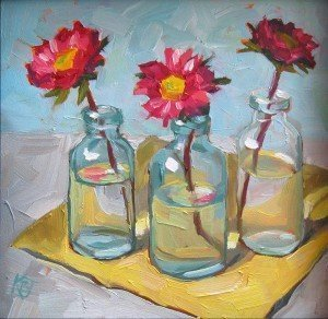 still life oil painting of 3 antique bottles with flowers