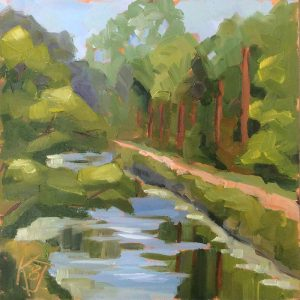 "Plein Air oil painting ""New Hope Canal from The A Space Gallery, New Hope PA"""