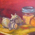 Still life oil painting of pig salt and pepper shakers and jar of manmade, tangerines