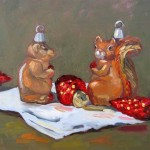 Chipmunk and Squirrel Christmas theme oil painting