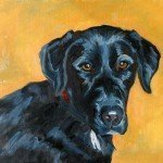 black lab dog oil painting portrait