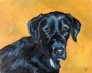 black lab dog oil painting portrait