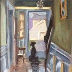 Dog watching out the front door oil painting