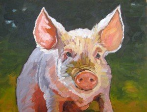 oil painting of pig