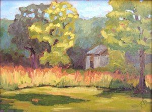 "plein air oil painting ""The Sheep Barn from Bowman's Wildflower Preserve"""