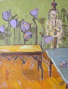 "interior oil landscape painting ""Dancing LIghts with Skeleton"""