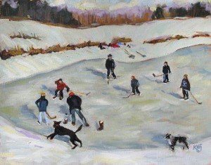 "landscape oil painitng ""Gleeful Game"" of pond ice hockey game"