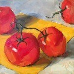 still life oil painting of tomatoes