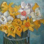still life painting of daffodils and narcissus