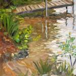 "plein air oil painting Little Sebago Maine, ""Island Dock"""