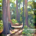 """plein air oil painting Little Sebago Maine, """"Island Path"""""""