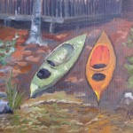 "Plein Air Oil Painting on lake ""Kayaks at Rest"""