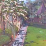 """plein air oil painting """"Lambertville Walkway"""""""