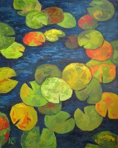 plein air oil painting Cape May Lilypads