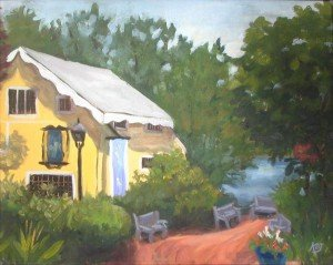 "plein air oil painting ""Martine's in New Hope PA"""