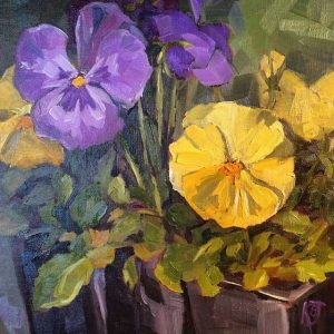still life oil painting of pansies purple and yellow
