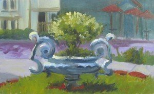 "plein air oil painting ""Stockton Urn"" New Jersy"