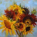 oil painting of sunflowers