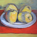 still life oil painting of four apples on a white plate