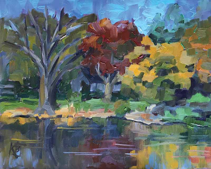 plein air oil painting of lake in Autumn