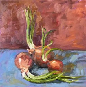 oil-still-life-painting of onions