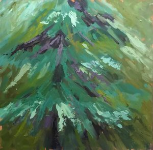 abstract oil painting of pine tree