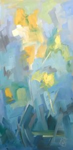abstract oil painting of daffodils in vase