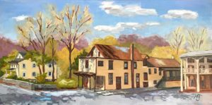 commissioned oil painting of Carversville buildings