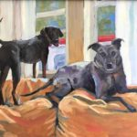 commissioned oil painting of two dogs