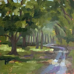 6x6 landscape oil painting of country road