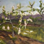 landscape oil painting of funky apple tree in Del Val Orchards