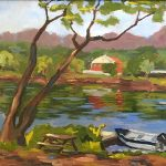 landscape oil painting of boat on the Delaware river