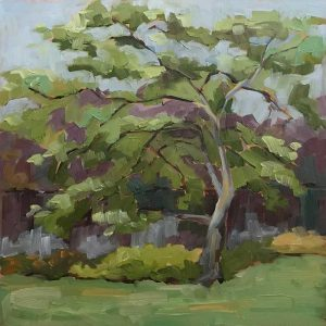 dogwood tree oil painting by lake