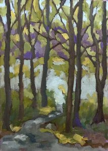 landscape oil painting of path to lake 5x7