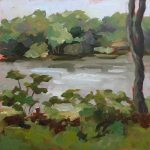 landscape oil painting of a cloudy lake day on 6x6 board