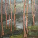 landscape oil painting of pathway to the lake, semi-abstract