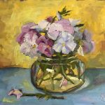 Still life oil painting of pansies in a glass jar