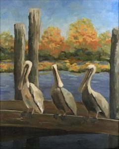 oil painting of three pelicans sitting on a dock