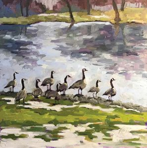 oil painting of a flock of geese lakeside