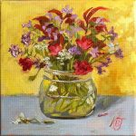 still life oil painting of flowers