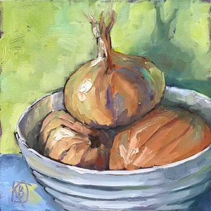 still life oil painting of bowl of onions