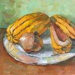 still life oil painting of delicata squash and onion