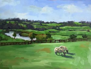landscape painting of Ireland countryside with sheep