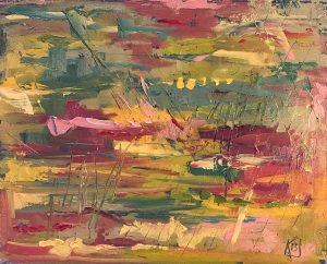 abstract oil painting garden colors
