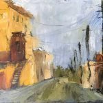oil painting urban city street