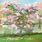 oil painting of pink flowering dogwood