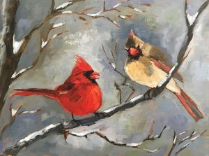two cardinals in winter oil painting